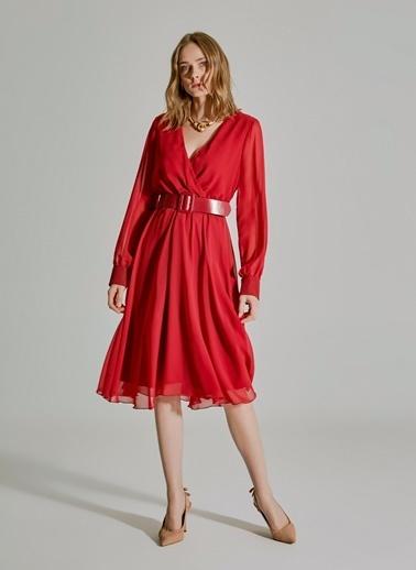 People By Fabrika Kemer Detaylı Elbise Bordo